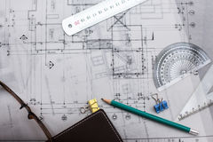 Construction planning drawings on the table with pencils, ruler Royalty Free Stock Image