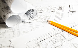 Construction planning drawings Royalty Free Stock Photography
