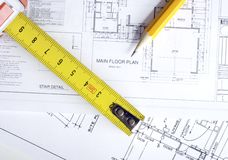 Construction planning drawings Royalty Free Stock Photos