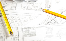 Construction planning drawings Stock Photo