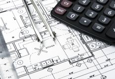 Construction planning drawings Stock Photography