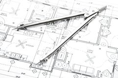 Construction planning drawings Stock Photos