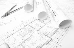 Construction planning drawings Royalty Free Stock Image