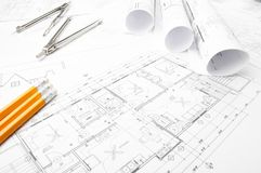 Construction planning drawings Royalty Free Stock Photo