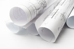 Construction planning drawings Royalty Free Stock Images