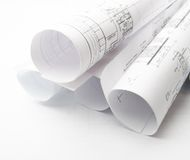 Construction planning drawings Stock Image