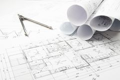 Construction planning drawings Stock Images