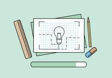 Construction planning process flat design. Stock Image