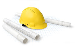 Construction plans. Construction drawing blueprints and yellow hard hat isolated