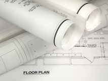 Construction plans. Rolled up plans for new construction Royalty Free Stock Image