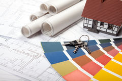 Construction Plans. Construct plans, maps and tools. Architecture Royalty Free Stock Photos