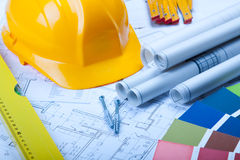 Construction Plans. Construct plans, maps and tools. Architecture Stock Photo