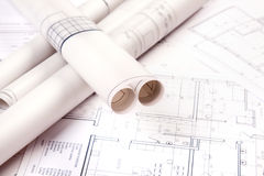 Construction Plans!. Construction plans of interior. Studio Shot royalty free stock images