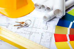 Construction Plans. Of interior and tools. Studio Shot royalty free stock photo