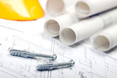 Construction Plans. Of interior and tools. Studio Shot Stock Image