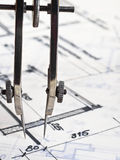 Construction plans. Bow and construction plans close up stock photos