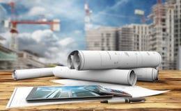 Construction Plans Stock Photos