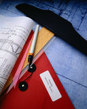 Construction Plans. With T square and drawing tools Stock Photo