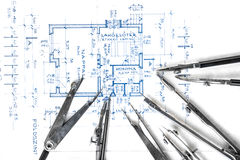 Construction plans with accessories Royalty Free Stock Photos
