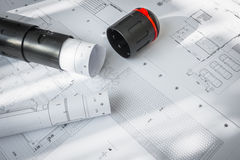 Construction plans of architectural project . Royalty Free Stock Photography