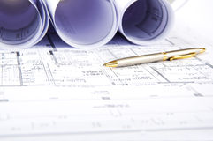 Construction plans, ball pen, business collage Royalty Free Stock Photography