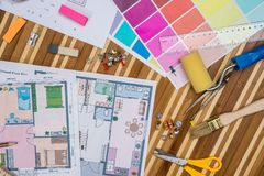 Construction plans with color samples. And draw tools Stock Photos