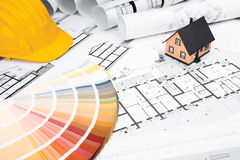 Construction plans with Colors Palette and Miniature House Stock Images