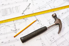 Construction plans - hammer Stock Image