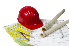 Construction plans and helmet Royalty Free Stock Photography