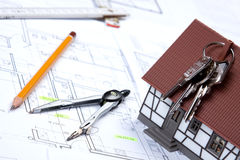 Construction Plans and Keys. Construction plans of interior and tools. Studio Shot Stock Photo