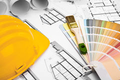 Construction plans with Paint Brush Colors Palette and Yellow Sa Stock Image
