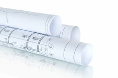 Construction plans in rolls Stock Photos