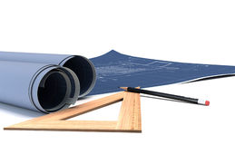Construction plans in rolls. 3d. Render Stock Photos