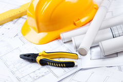 Construction Plans and ruler. Construction plans of interior and ruler. Studio Shot stock photos
