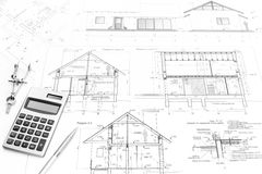 Construction plans and tools Royalty Free Stock Photos