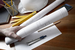 Construction plans and tools Royalty Free Stock Images