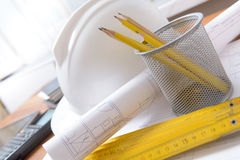 Construction plans and tools Royalty Free Stock Photography