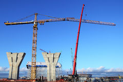 Construction plant,  Erection of towers crane, connecting outer Stock Images