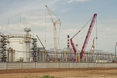 Construction of a plant for processing of oil Stock Image