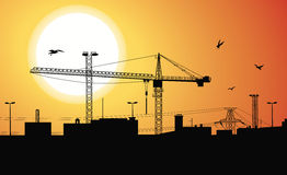 Construction plant at sunset. Royalty Free Stock Photography