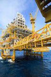 Construction platform for production energy.Oil and gas platform in the gulf or the sea, The world energy Stock Photo