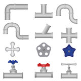 Construction plumbing pieces set of pipes, fittings, valve, gate. Plumbing, water pipes, sewerage. Construction plumbing pieces set of pipes, fittings, valve Royalty Free Stock Image