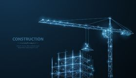 Construction. Polygonal wireframe building under crune on dark blue night sky with dots, stars. Construction, development, architecture or other concept royalty free illustration