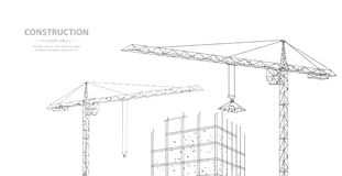 Construction. Polygonal wireframe building under crune isolated on white. Drawing, graphics. Construction, development, architecture or other concept Stock Photos