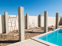Construction of a pool side pergola Stock Photography