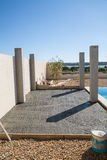 Construction of a pool side pergola Royalty Free Stock Photography
