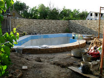 The construction of the pool Stock Image