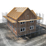 Construction of private houses of brick on white. Angle from up. 3D illustration Royalty Free Stock Photography