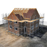 Construction of private houses of brick on white. Angle from up. 3D illustration Stock Photo