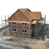 Construction of private houses of brick on white. Angle from up. 3D illustration Stock Photography